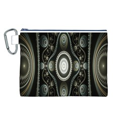 Fractal Beige Blue Abstract Canvas Cosmetic Bag (L)