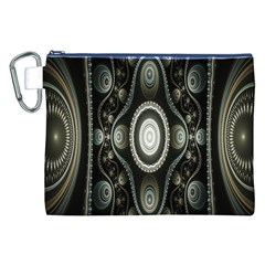 Fractal Beige Blue Abstract Canvas Cosmetic Bag (xxl)