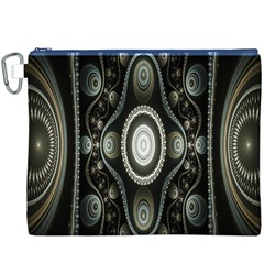 Fractal Beige Blue Abstract Canvas Cosmetic Bag (XXXL)