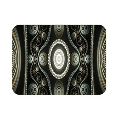 Fractal Beige Blue Abstract Double Sided Flano Blanket (Mini)