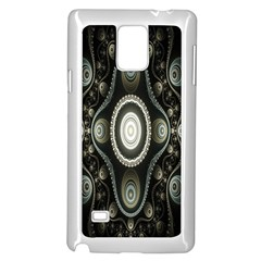 Fractal Beige Blue Abstract Samsung Galaxy Note 4 Case (White)