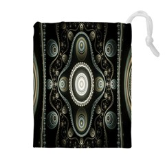 Fractal Beige Blue Abstract Drawstring Pouches (Extra Large)