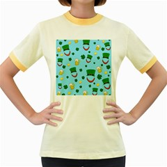 St. Patrick s day pattern Women s Fitted Ringer T-Shirts