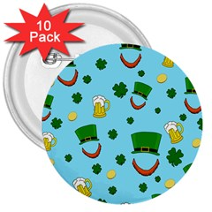 St. Patrick s day pattern 3  Buttons (10 pack)