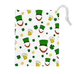 St. Patrick s day pattern Drawstring Pouches (Extra Large)