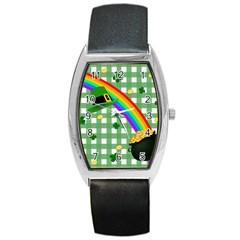 St. Patrick s day rainbow Barrel Style Metal Watch