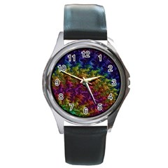 Fractal Art Design Colorful Round Metal Watch