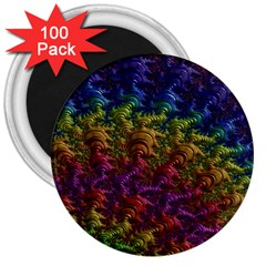 Fractal Art Design Colorful 3  Magnets (100 pack)