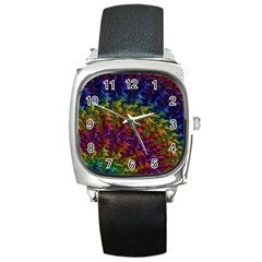 Fractal Art Design Colorful Square Metal Watch