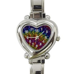Fractal Art Design Colorful Heart Italian Charm Watch