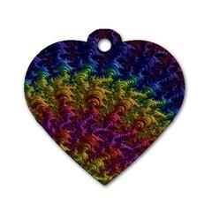 Fractal Art Design Colorful Dog Tag Heart (One Side)