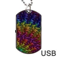 Fractal Art Design Colorful Dog Tag USB Flash (Two Sides)