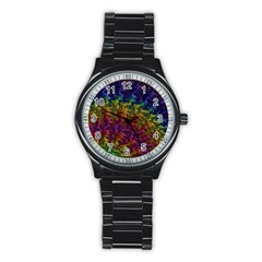 Fractal Art Design Colorful Stainless Steel Round Watch