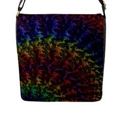 Fractal Art Design Colorful Flap Messenger Bag (L)
