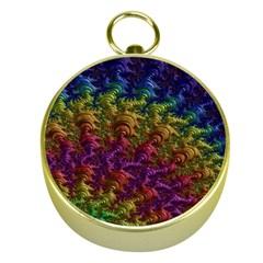 Fractal Art Design Colorful Gold Compasses