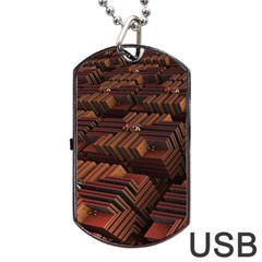 Fractal 3d Render Futuristic Dog Tag USB Flash (Two Sides)