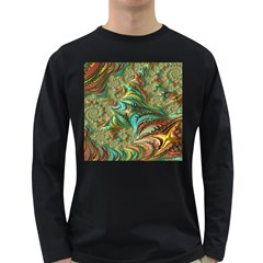 Fractal Artwork Pattern Digital Long Sleeve Dark T-Shirts