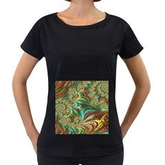 Fractal Artwork Pattern Digital Women s Loose Fit T Shirt (black)