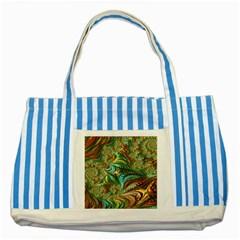Fractal Artwork Pattern Digital Striped Blue Tote Bag