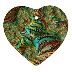 Fractal Artwork Pattern Digital Heart Ornament (Two Sides)