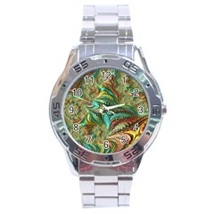 Fractal Artwork Pattern Digital Stainless Steel Analogue Watch