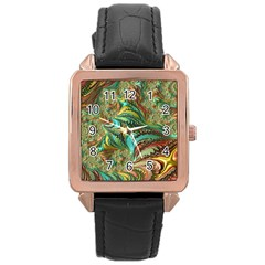 Fractal Artwork Pattern Digital Rose Gold Leather Watch