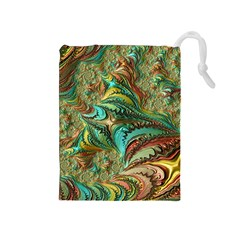 Fractal Artwork Pattern Digital Drawstring Pouches (Medium)