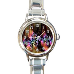 Fractal Colorful Background Round Italian Charm Watch
