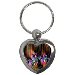 Fractal Colorful Background Key Chains (heart)