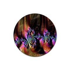 Fractal Colorful Background Rubber Coaster (Round)