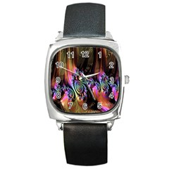 Fractal Colorful Background Square Metal Watch