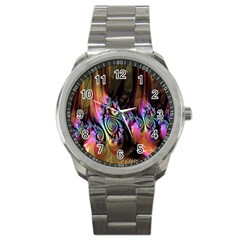 Fractal Colorful Background Sport Metal Watch