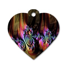 Fractal Colorful Background Dog Tag Heart (Two Sides)