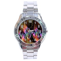 Fractal Colorful Background Stainless Steel Analogue Watch