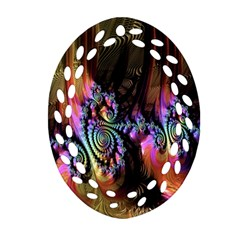 Fractal Colorful Background Oval Filigree Ornament (Two Sides)