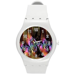 Fractal Colorful Background Round Plastic Sport Watch (m)