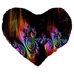 Fractal Colorful Background Large 19  Premium Heart Shape Cushions