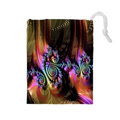 Fractal Colorful Background Drawstring Pouches (large)