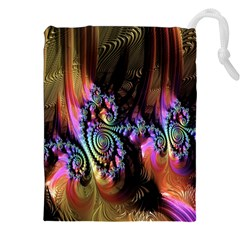 Fractal Colorful Background Drawstring Pouches (XXL)