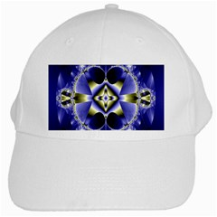 Fractal Fantasy Blue Beauty White Cap