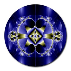 Fractal Fantasy Blue Beauty Round Mousepads