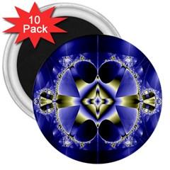 Fractal Fantasy Blue Beauty 3  Magnets (10 Pack)