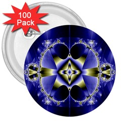 Fractal Fantasy Blue Beauty 3  Buttons (100 Pack)