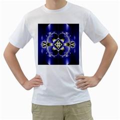 Fractal Fantasy Blue Beauty Men s T-Shirt (White) (Two Sided)