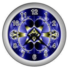 Fractal Fantasy Blue Beauty Wall Clocks (Silver)