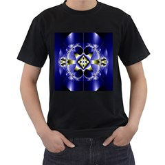 Fractal Fantasy Blue Beauty Men s T-Shirt (Black) (Two Sided)