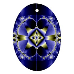 Fractal Fantasy Blue Beauty Oval Ornament (Two Sides)