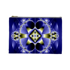 Fractal Fantasy Blue Beauty Cosmetic Bag (Large)