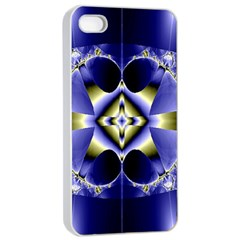 Fractal Fantasy Blue Beauty Apple iPhone 4/4s Seamless Case (White)
