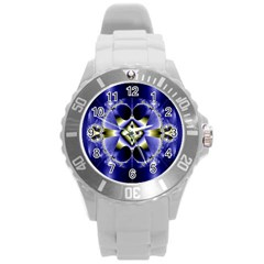 Fractal Fantasy Blue Beauty Round Plastic Sport Watch (l)